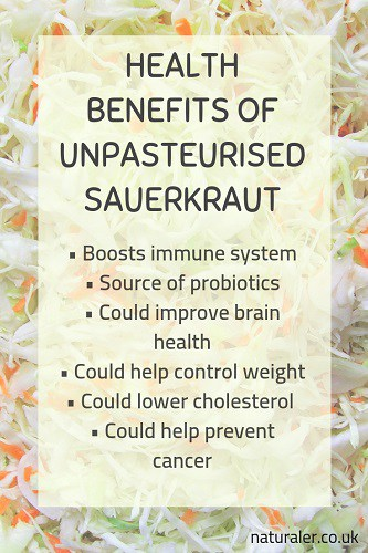 Health benefits of unpasteurised sauerkraut