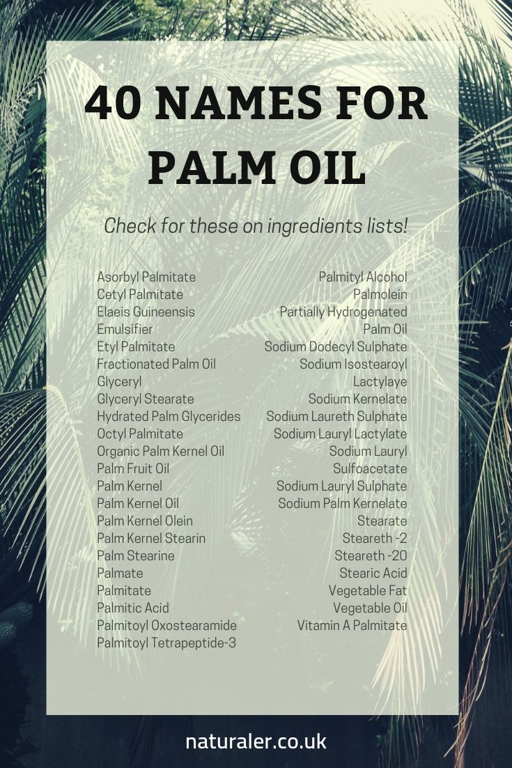 40 names for palm oil